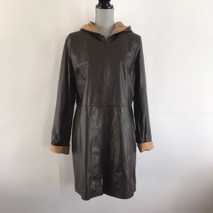 Mancuer Leather coat with hood